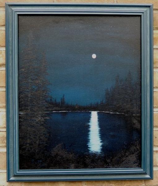 Moonlit Lake Framed